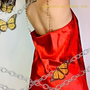 Vintage gold chain red satin nighty